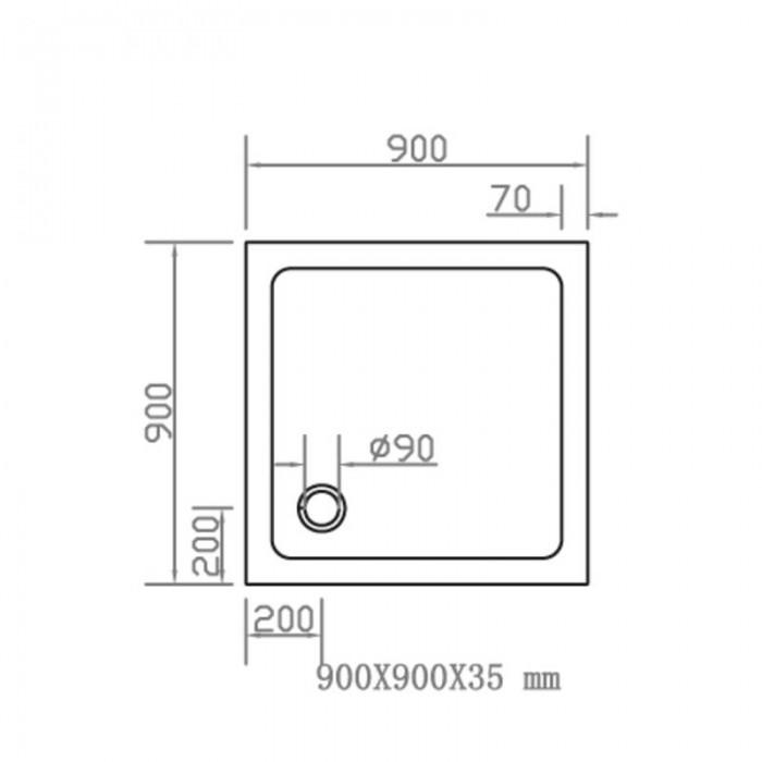 Душевой поддон EGER SMC 900Х900 квадратный 599-9090S в интернет-магазине «Estet Room»