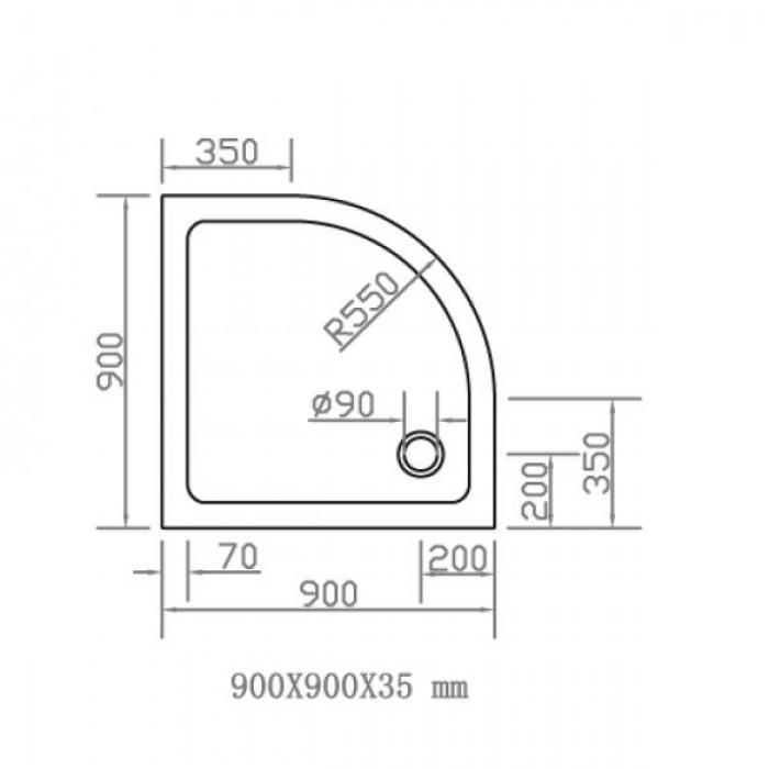 Душевой поддон EGER SMC 900Х900 полукруглый 599-9090R в интернет-магазине «Estet Room»