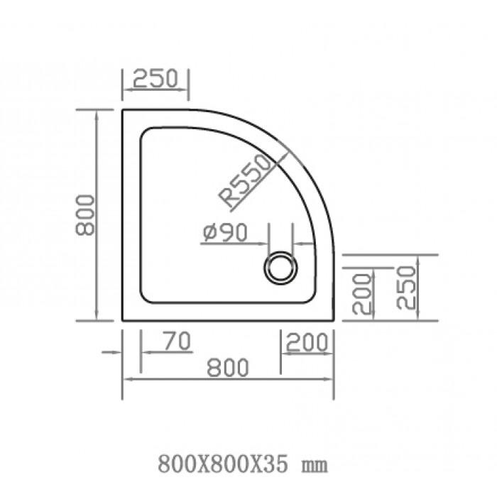 Душевой поддон EGER SMC 800Х800 полукруглый 599-8080R в интернет-магазине «Estet Room»