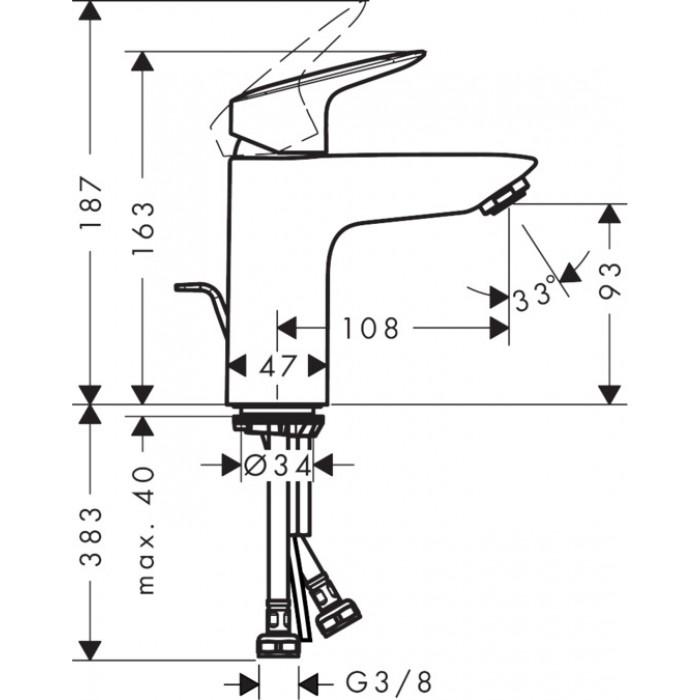Смеситель для раковины Hansgrohe Logis 100 71100000 в интернет-магазине «Estet Room»