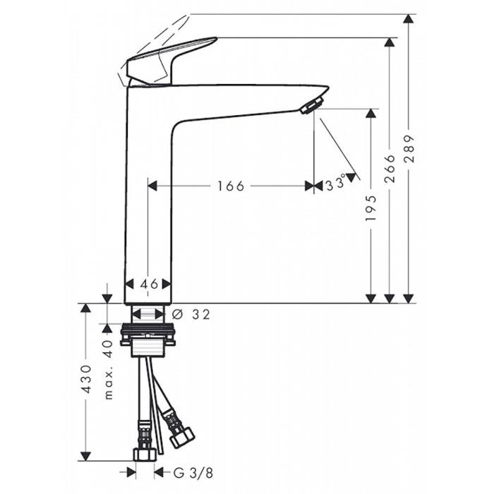 Смеситель для раковины Hansgrohe Logis 190 (71091000) без донного клапана в интернет-магазине «Estet Room»