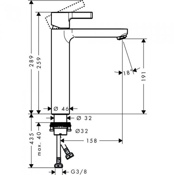 Смеситель для раковины Hansgrohe Metris S 190 (31026000) без донного клапана в интернет-магазине «Estet Room»