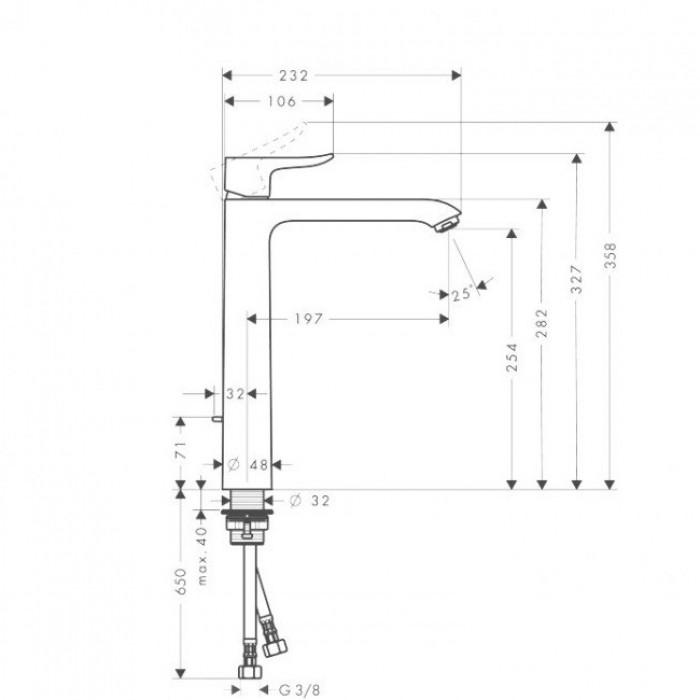 Смеситель для раковины Hansgrohe Metris 260 (31184000) без донного клапана в интернет-магазине «Estet Room»