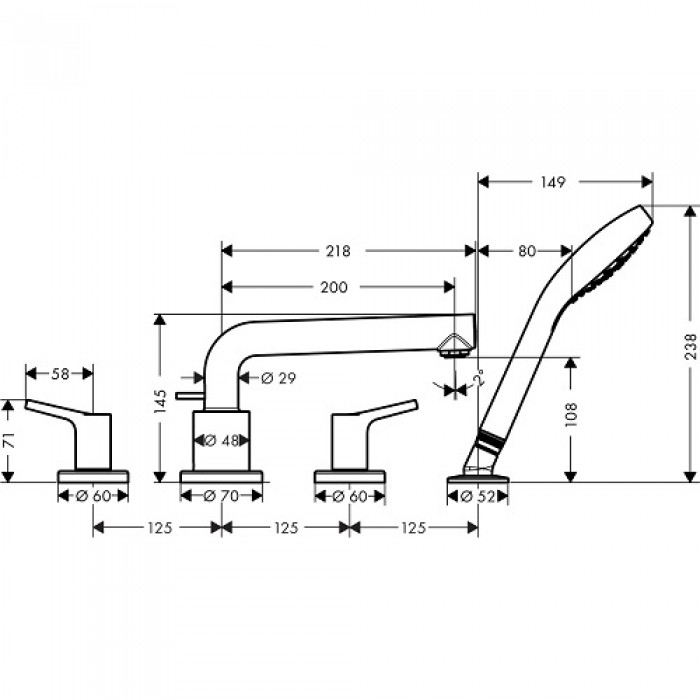 Смеситель для ванны Hansgrohe Talis S 72419000 в интернет-магазине «Estet Room»
