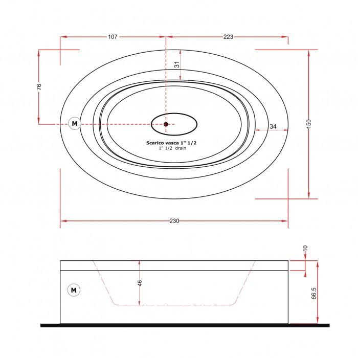 Gruppo Treesse Fusion 231 Ванна в современном стиле 230x150xh67 см в интернет-магазине «Estet Room»