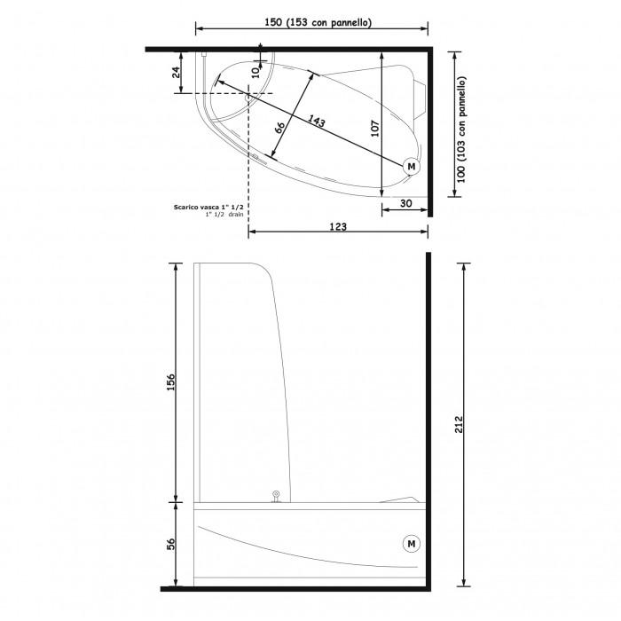 Gruppo Treesse Syria Box Easy Ванна угловая в современном стиле 153x103xh212 см в интернет-магазине «Estet Room»