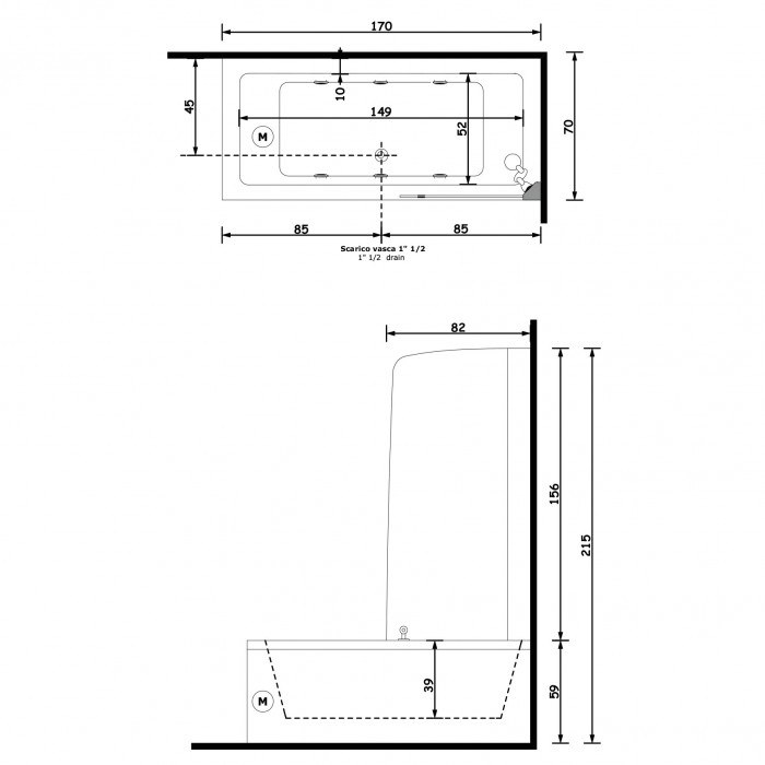 Gruppo Treesse Quadra Box Ванна 170x70x221 см в интернет-магазине «Estet Room»