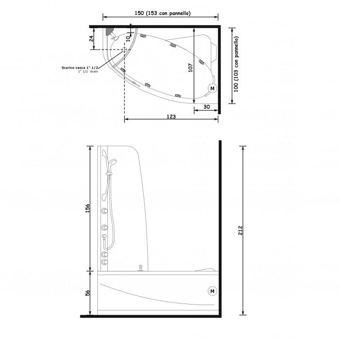 Gruppo Treesse Syria Box Ванна угловая в современном стиле 153x103xh212 см в интернет-магазине «Estet Room»