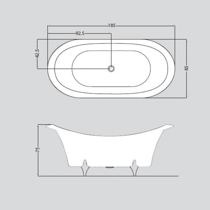 Gruppo Treesse Grande Dame Ванна в классическом стиле 185x85xh75 см в интернет-магазине «Estet Room»
