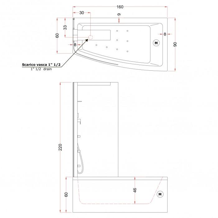 Gruppo Treesse Asyx Box Top Ванна 160x90xh222 см в интернет-магазине «Estet Room»