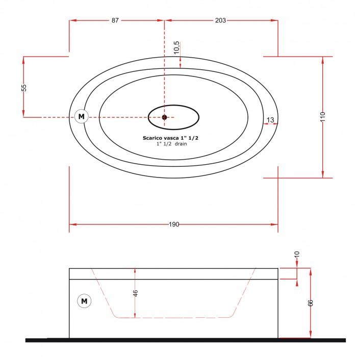 Gruppo Treesse EOS 190 Ванна в современном стиле 190x110xh66 см в интернет-магазине «Estet Room»