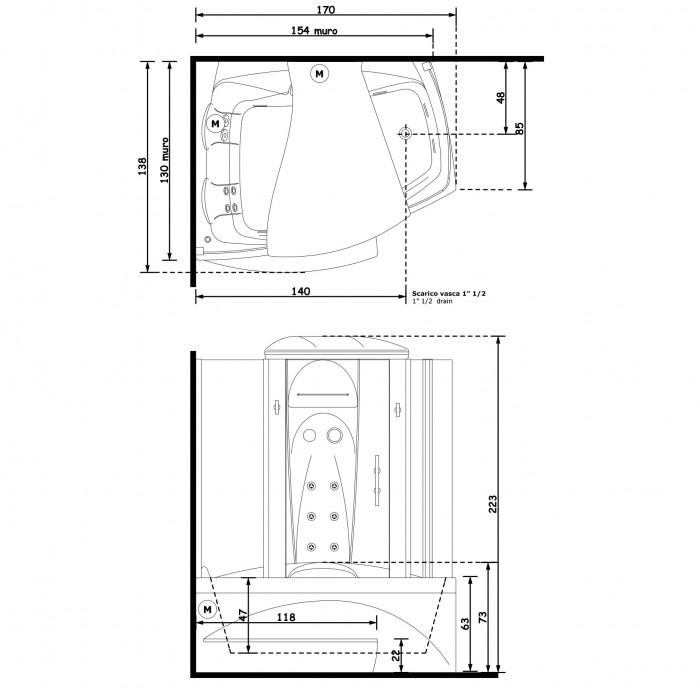 Gruppo Treesse Matrix Midi Ванна 170x138xh221 см в интернет-магазине «Estet Room»