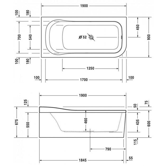 Esplanade ванна асимметричная 190 см 700281000000000 в интернет-магазине «Estet Room»