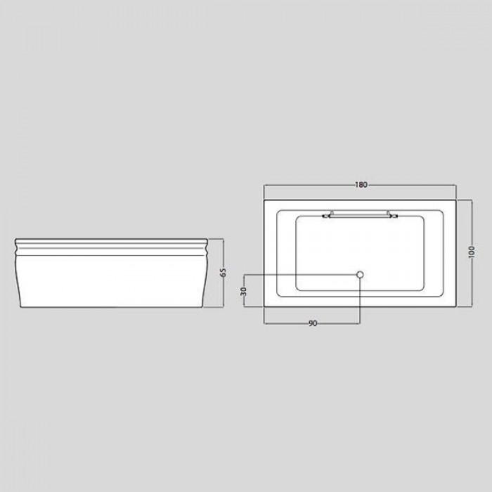 Gruppo Treesse Blanque 1810 Ванна в стиле арт-деко 180x100xh65 см в интернет-магазине «Estet Room»