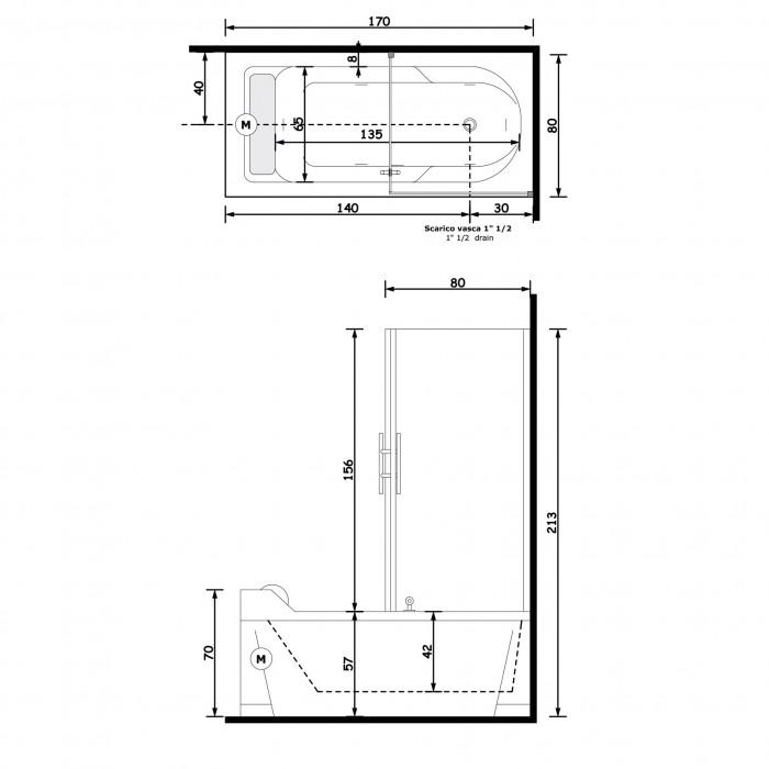 Gruppo Treesse Alba Box Easy Ванна 170x80x213 см в интернет-магазине «Estet Room»