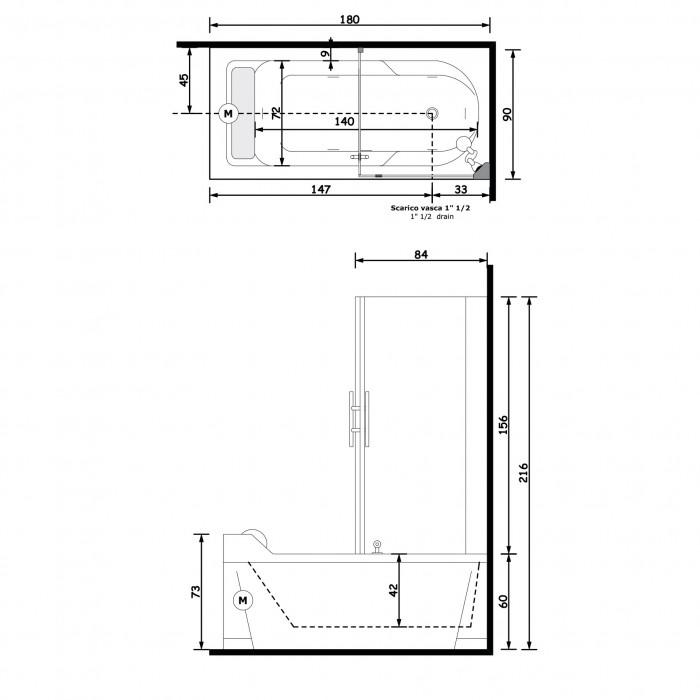 Gruppo Treesse Alba Box Easy 2 Ванна 180x90x217 см в интернет-магазине «Estet Room»