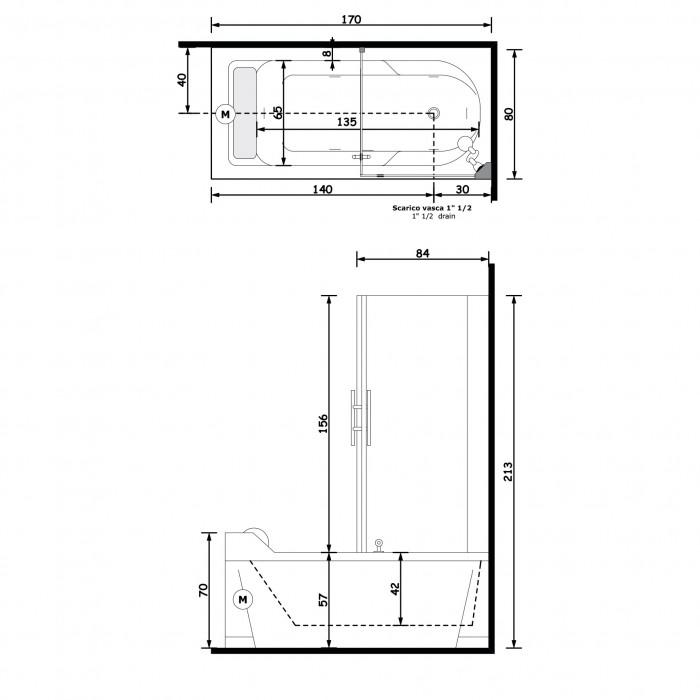 Gruppo Treesse Alba Box Easy 2 Ванна 170x80x213 см в интернет-магазине «Estet Room»