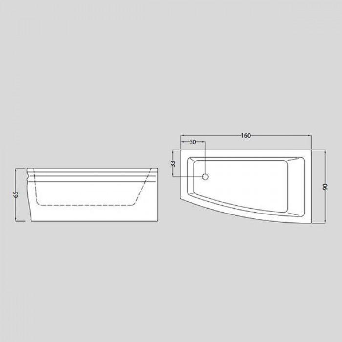 Gruppo Treesse Blanque 1690 Ванна в стиле арт-деко 160x90xh65 см в интернет-магазине «Estet Room»