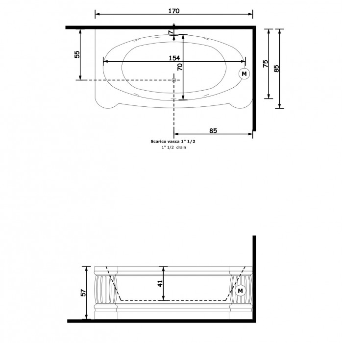 Gruppo Treesse New Classic Young Ванна 170x85xh57 см, цвет белый/swarovski в интернет-магазине «Estet Room»