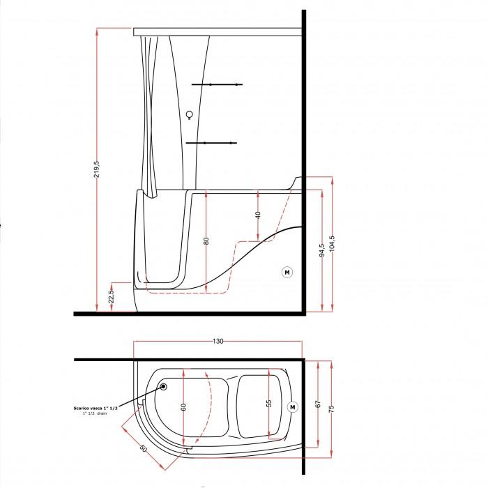 Gruppo Treesse Gen-X Top Ванна 130x75xh220 см в интернет-магазине «Estet Room»