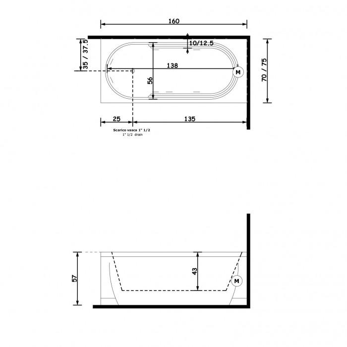 Gruppo Treesse Cristina Ванна прямоугольная 160x75xh57 см в интернет-магазине «Estet Room»