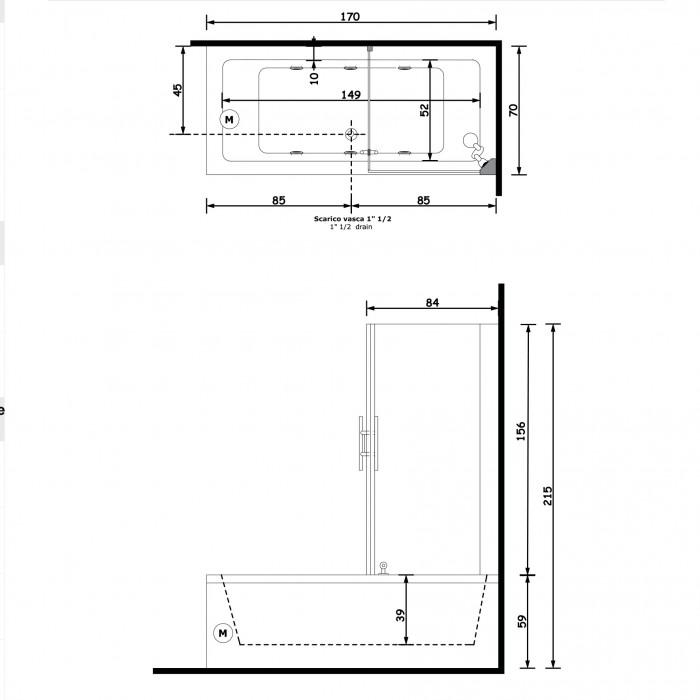 Gruppo Treesse Quadra Box Easy 2 Ванна 170x70x221 см в интернет-магазине «Estet Room»