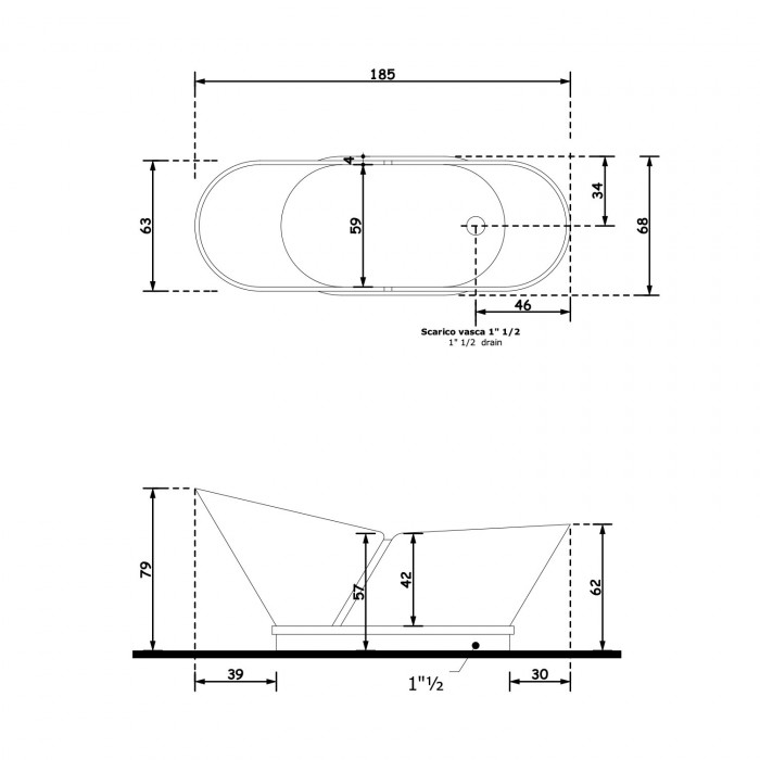 Gruppo Treesse Calipso Ванна в классическом стиле 185x68xh79 см в интернет-магазине «Estet Room»