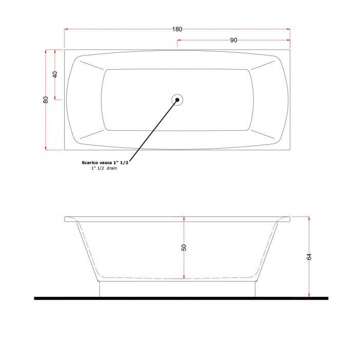 Gruppo Treesse Crystal Ванна 180x80x65 см в интернет-магазине «Estet Room»