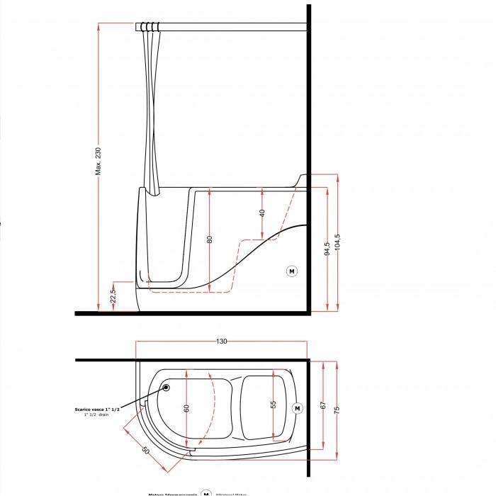 Gruppo Treesse Gen-X Midi Ванна 130x75xh220 см в интернет-магазине «Estet Room»