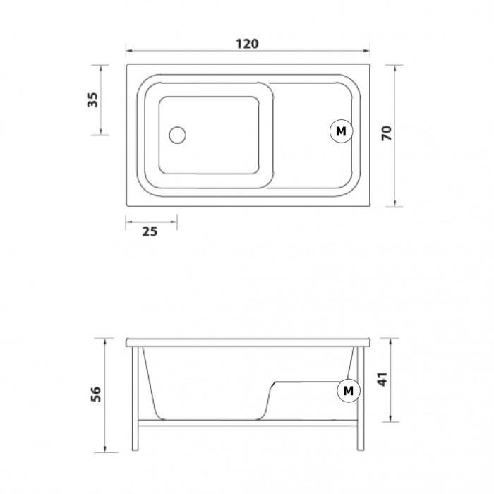 Gruppo Treesse Cristina Sedile Ванна прямоугольная 120x70xh56 см в интернет-магазине «Estet Room»