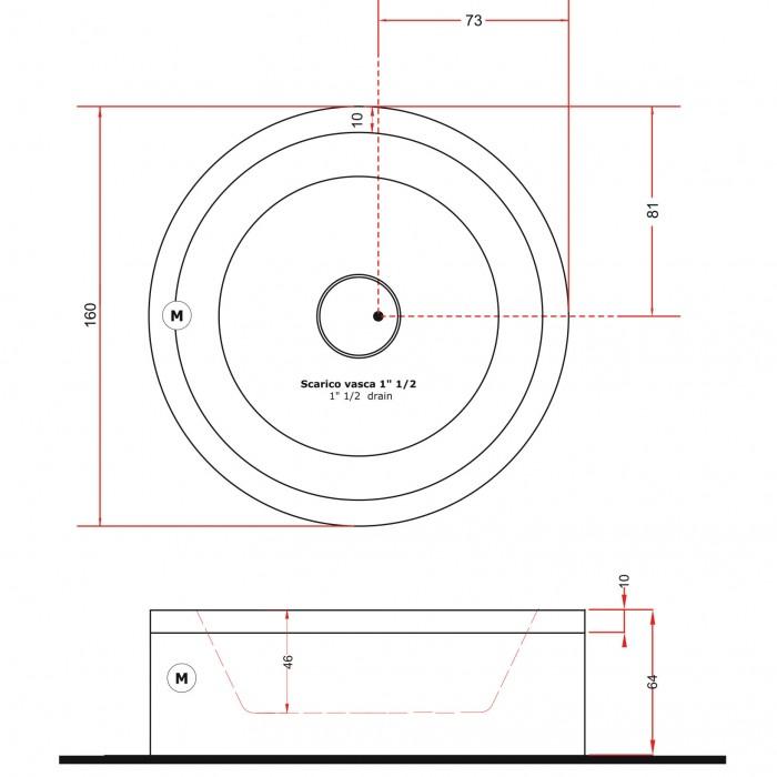 Gruppo Treesse EOS 160 Ванна в современном стиле 160xh64 см в интернет-магазине «Estet Room»