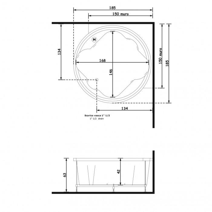 Gruppo Treesse Ninfa Ванна в современном стиле 185x185xh65 см в интернет-магазине «Estet Room»