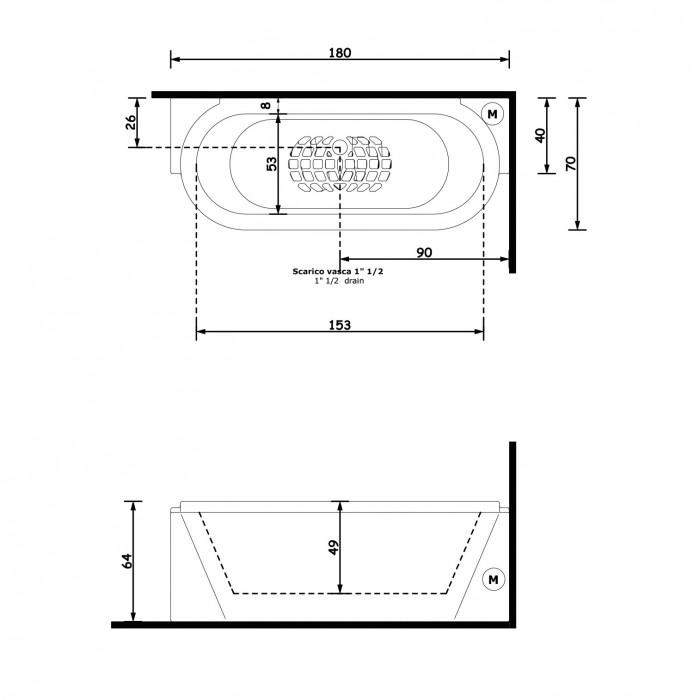 Gruppo Treesse Playa Ванна 180x70x64 см в интернет-магазине «Estet Room»