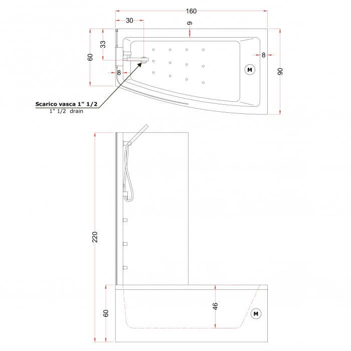 Gruppo Treesse Asyx Box Midi Ванна 160x90xh222 см в интернет-магазине «Estet Room»
