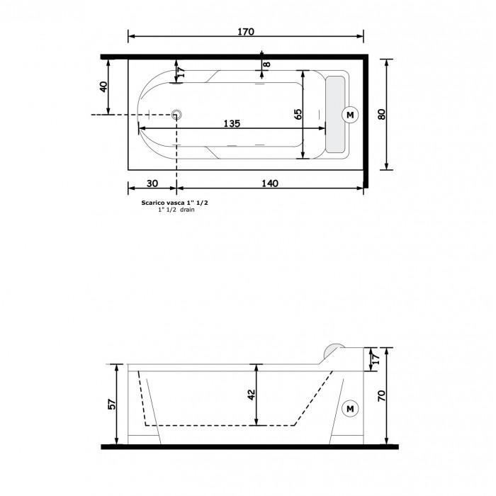 Gruppo Treesse Alba Ванна 170x80x70 см в интернет-магазине «Estet Room»