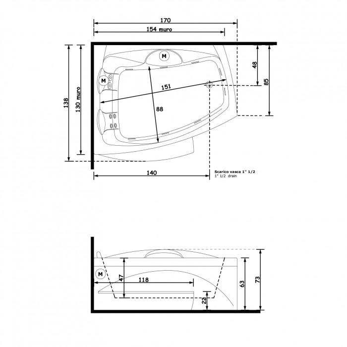 Gruppo Treesse Matrix Slim Ванна 170x138xh72 см в интернет-магазине «Estet Room»
