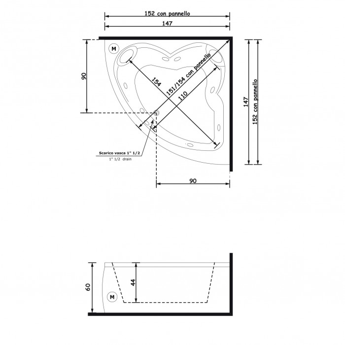 Gruppo Treesse Dafne Ванна угловая 150x150xh60 см в интернет-магазине «Estet Room»