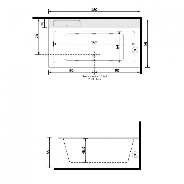Gruppo Treesse Quadra mts Ванна 180x95xh68 см в интернет-магазине «Estet Room»