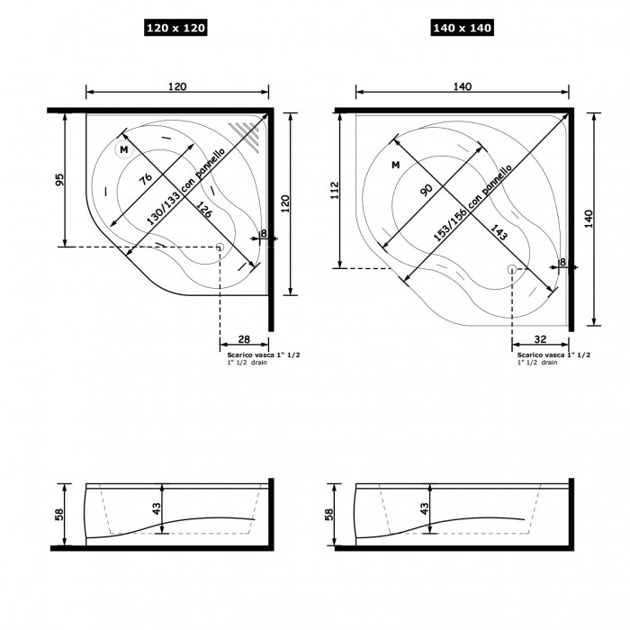 Gruppo Treesse Aurora Ванна угловая в современном стиле 120x120xh58 см в интернет-магазине «Estet Room»