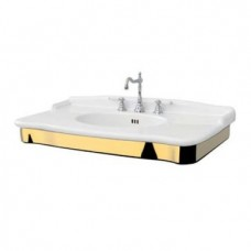 Керамическая раковина 112 см Artceram Hermitage, white glossy/gold bicolor (HEL004 01; 56)