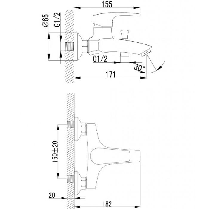 Смеситель для ванны Imprese Jesenik 10140 в интернет-магазине «Estet Room»