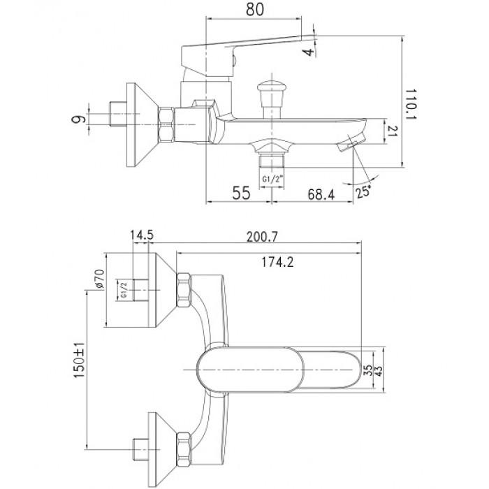 Смеситель для ванны Imprese Laska 10040S в интернет-магазине «Estet Room»
