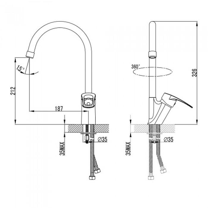 Смеситель для кухни Imprese Lidice 55095 в интернет-магазине «Estet Room»