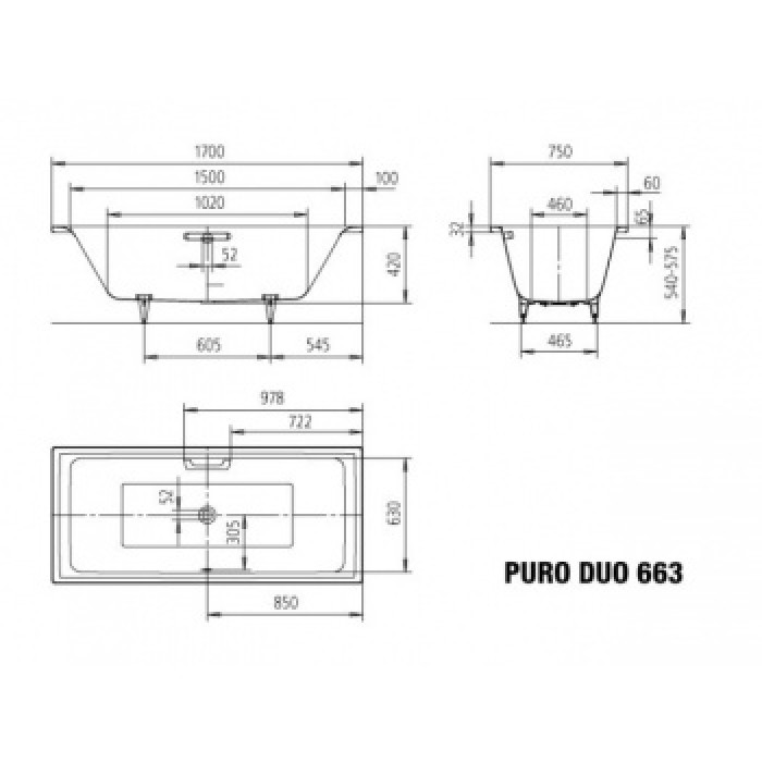 Ванна KALDEWEI PURO DUO 170x75 266300013001 в интернет-магазине «Estet Room»