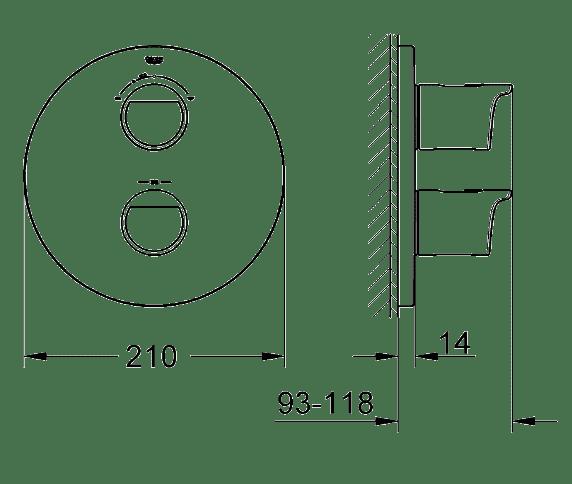 ЧертежGrohe Grohtherm 2000 NEW (19355001)